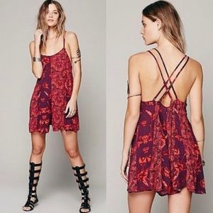Free People Isabella Floral Flowy Red Romper